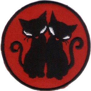 "iron on patch "" black cat """